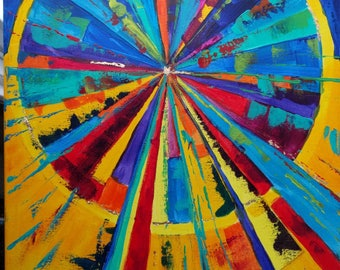 Blazing abstract sun rays circle, original acrylic painting