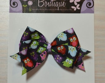 Boutique Style Hair Bow - Owls, Black