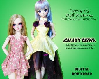 Galaxy Gown dress cosplay moon sailor sewing clothes pattern for Curvy 1/3 60cm BJD: SD, SDGR, Dollfie Dream, Smart Doll, dd