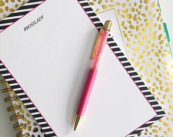 Boss Lady Notepad | Girl Boss - Lady Boss - Black and Pink Striped Notepad - Preppy