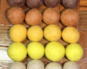 20pcs Chocolate II Collection Wool Felt Balls (1cm)