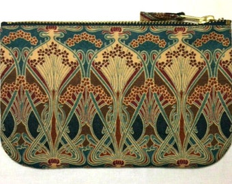 Make Up Bag, Zip Purse, Pouch - Liberty Ianthe Print. Brown, navy, russet. Ipod and Earphones Case