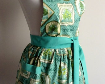 Cute apron|Retro apron| womens apron| full apron|FREE SHIPPING