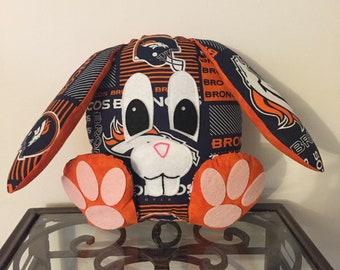 Denver Broncos Handmade Stuffed Bunny