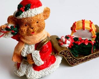 Santa Bear, Bear Figurine, Christmas Figurine Ornament, Vintage Christmas Bear, Teddy Bear, Christmas, Christmas Decor, Holiday Decor, Bear