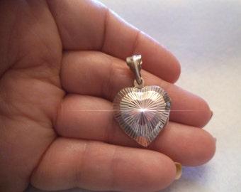 Vintage Sterling  Diamond Cut HEART LOCKET  Free Shipping
