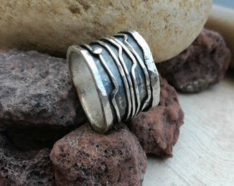 Unique cool  men ring, Band with cool ring, Art designer ring,  Boho  men ring, Oxidized band men ring, Unique Men Ring ,Unique wide  band