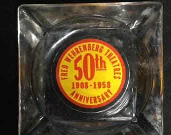 Vintage Ashtray Glass Wehrenberg Theatre 50th Anniversary 1908-1958