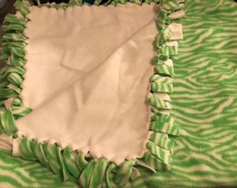 Adult size, Green and White Zebra print Handmade Tie Blanket