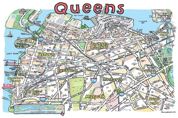 Items similar to Queens NY Map Print Hand-Drawn New York ...