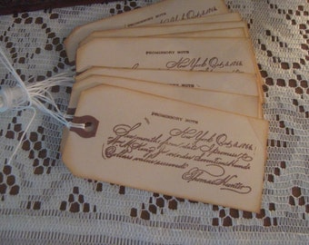 Vintage Hand Stamped Olde World Writing Gift Tags, Wish Tags, Journal Scrapbook Tags,
