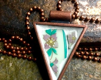 Sherbet Summer - Mosaic Pendant,  Vintage China set into a Lisa Pavelka Copper Triangle Bezel - SHIPS FREE to Continental United States