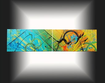 Modern contemporary art. Trendy abstract painting. Wall canvas panoramic deco lounge 30x120cm. Art Original, modern Goartdeco. Desk.