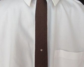 Vintage Skinny Tie in Black and Brown, Vintage Narrow Tie with Small Motif, Hipster Skinny Retro Tie, Dark Skinny Tie for Dark Suit, c 1950s