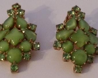 Vintage Green Moonglow & Rhinestone Earrings