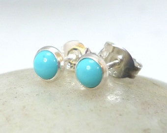Tiny Turquoise Sterling Silver Stud Earrings .. Tiny Turquoise Studs .. 4mm Studs .. Reconstituted Turquoise Earrings .. Turquoise Jewelry