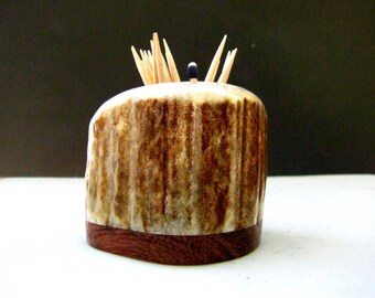 Nice Elk Antler Toothpick Holder, Match Stick Holder, Bubinga Wood Base, TP-12
