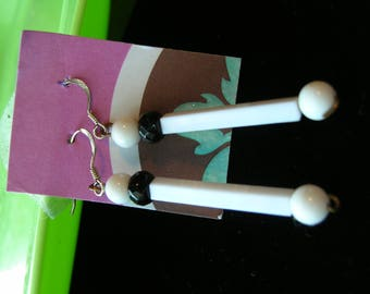 Earrings Vintage Lucite White Black Dangle sterling ear wires
