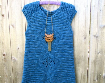 Vintage Dress Boho Mini Dress 90s Mini Dress Knit Surfer Dress Beach Dress Bohemian Dress Size M Blue Woolmix Dress Free People Style Hippie
