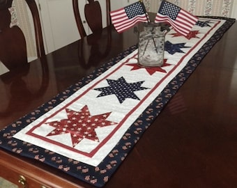 4th of July 64 Inch Quilted Table Runner, Long Patriotic Quilted Table Runner, Handmade Red White and Blue Quilted Table Runner