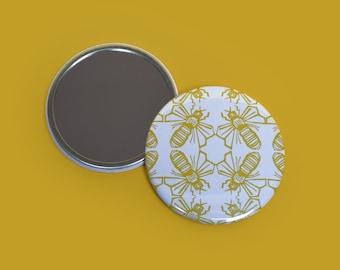 Bee Print Pocket Mirror - gift for mum, daughter, her, women - mothers day gift - stocking filler - animal print - animal - beauty - pattern