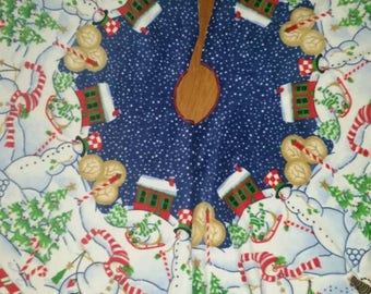 Peppermint Hill Fleece Fabric Panel Christmas Tree Skirt 2 panels makes complete skirt, 180 inches