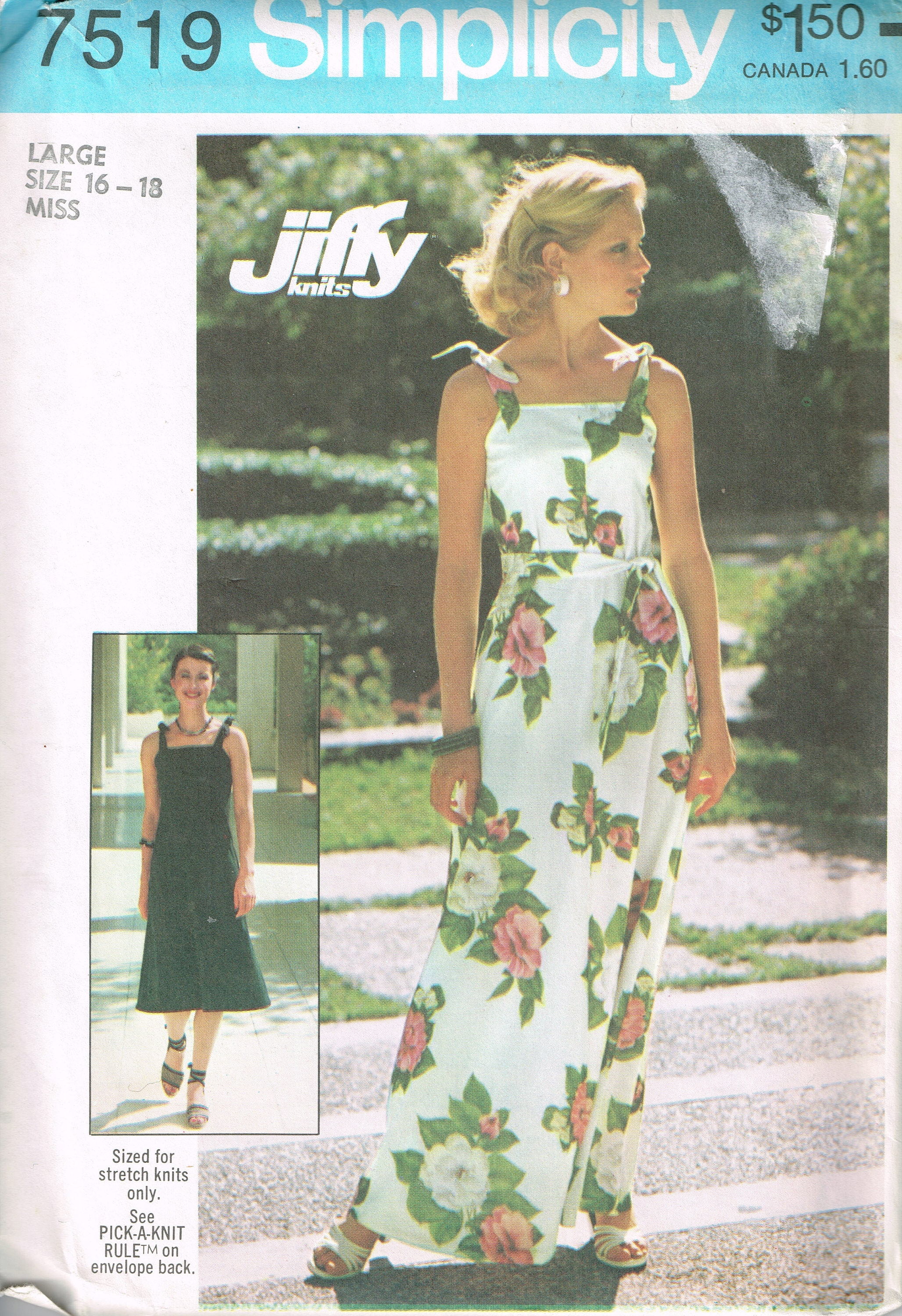70s Knit Summer Dress Pattern Simplicity 7519 Size Large Bust 38 to ...