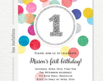 1st birthday invitation for girl or boy, rainbow silver glitter one first birthday party invite, confetti customized printable digital file