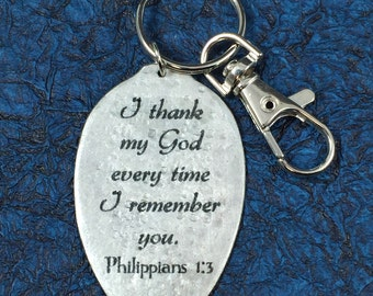 I Thank My God Every Time I Think of You Keychain, Silverware Jewelry, Inspiring gift,Philippians 1:3 keychain,Religious Gift