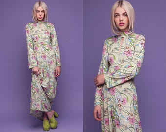 Mint Floral Keyhole Turtle Neck Maxi Dress XS S M L XL XXL