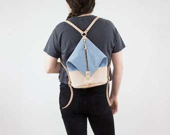 Leather Backpack - Light Denim and Nude Leather Mini Backpack - Canvas Backpack - Backpack Purse - Leather Bag - Leather Purse - Veg Tan