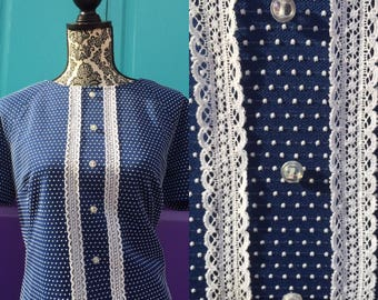 Vtg 1960s Stewardess Blue Polka Dot Maxi Dress L