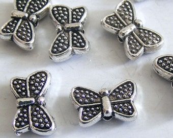 Antique Silver Textured Butterfly Beads 11x7x3mm (12 pcs) MW-P2434