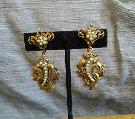 Ornate vintage Victorian revival European French dangle earrings 1910s