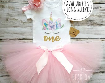 Pink Unicorn Birthday Outfit | Pink First Birthday Outfit | Unicorn Birthday Shirt | Unicorn Birthday | Cake Smash Outfit | Photo Prop