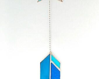 stained glass arrow suncatcher blue