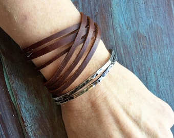 Leather Wrap Bracelet - 6 Strands / Joanna Gaines Jewelry / 4 Colors / Boho