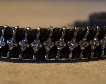 Pave Diamond oxidized Sterling Silver black thread woven bracelet