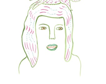 Hairdog 2 - art print of gouache & ink drawing