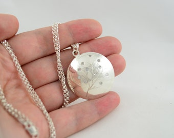 Large Silver Pendant with Stones, Hand Engraved Necklace with Gemstones, Round Pendant, Flush Set