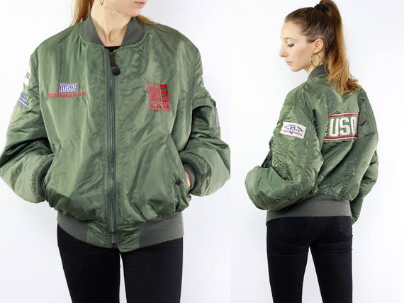 Patched Bomber Jacket / Bomber Jacket Patches / Vintage Bomberjacket / Green Bomber Jacket / Balloon Jacket / Vintage Jacket / Bomberjacket