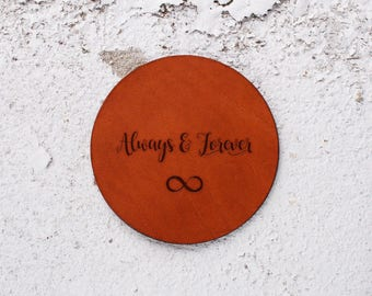 Leather Wedding gift, Leather Anniversary Gift, Leather Coasters,3 year anniversary, always and forever gifts, Leather Gift ,infinity