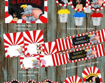 Dumbo Party Package, Disney Dumbo Package, Printable Dumbo Decorations, Dumbo Party Supplies, Dumbo Baby Shower, Dumbo Centerpieces, Dumbo