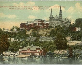 Georgetown University Canoe Club Potomac River Washington DC Vintage Postcard