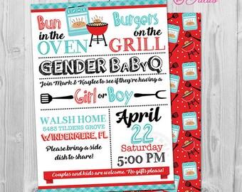 BBQ Gender Reveal Invitation, Barbeque Reveal Gender Reveal Party Invitation Printable BBQ BabyQ Gender Reveal Invitation, Babyq Baby Shower