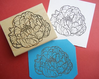 Peony Flower Rubber Stamp  - Handmade by Blossom Stamps