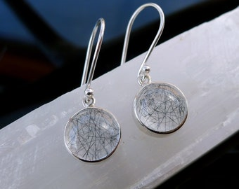 BLACK RUTILE QUARTZ Earrings - in Sterling Silver