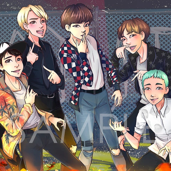 BTS FIRE Kpop PRINT Rm Jin Jimin Jungkook V Suga