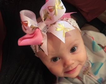 Bow Crown, White, Pink, & Gold (Hair Bow Attached by Band, Newborn-3 Yrs)