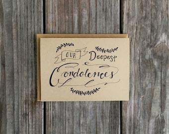 Rustic Sympathy Greeting Card, Hand Drawn Condolence Card, Rustic Calligraphy Card